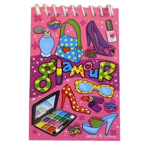 Glamour Girl Pink Notebook Notepad Jotter - Girls Party Bag Fillers
